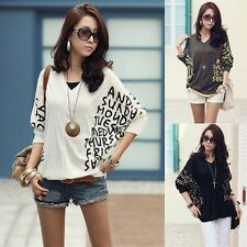 V Neck Batwing 3/4 Long Sleeve Knit Girl's Tops Sweater Blouse Tee Coat Knitwear