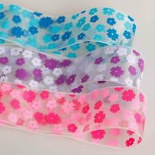 Neotrims Organza Daisy Flower Print Opaque Ribbons Online By the Yard 16 25 38mm