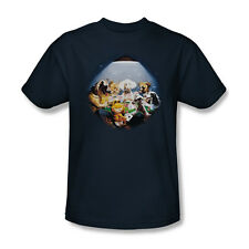 Garfield Playing With The Big Dogs T-Shirt Adult Men Navy Blue S M L XL 2X 3X