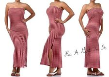 PLUS SIZE RED WHITE STRIPED NAUTICAL LONG SLIT TUBE MAXI DRESS SUNDRESS 1X 2X 3X