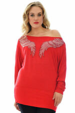 New Womens Top Ladies Batwing Shirt Angel Wings Studs Plus Size Nouvelle 08-34