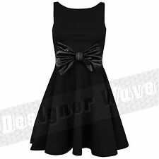 Womens Ladies Bow Skater Dress Sleeveless Black A Line Wet Look Party 8 10 12 14