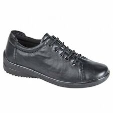 Mod Comfys Womens Ladies Soft Leather 5 Eyelet Lace-Up Casual Padded Shoes Black