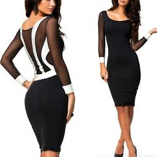 Women Ladies Sexy Sheath Mesh Bandage Dress Long Sleeve Party Evening Clubwear