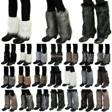 Lady Winter Soft Faux Fur Fluffy Furry Cuff Leg Warmer Boot Cover Sleeve Toppers