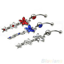 New Design 3 Butterflies Pendant Ball Button Bar Belly Navel Ring Body Piercing