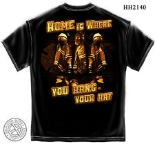 """Firefighter's T-Shirt """"HOME IS WHERE..."""", Black, HD Color Graphics - FF-2140"""