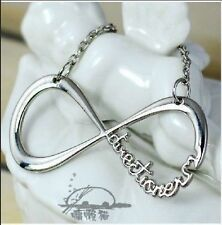 Silver & Gold 1D One Direction Infinity 8 Symbol Alloy Pendant Chain Necklace