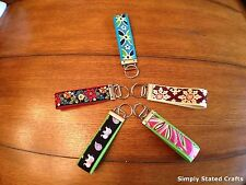 Hand Crafted Key Fob Wristlet/Key Chain made w/Vera Bradley Fabric