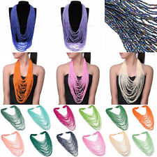 Hot Handmade Multi Layers Seed Beads Cluster long Pendant Statement Bib Necklace