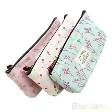 Trendy Flower Floral Pencil Case Cosmetic Makeup Tool Bag Storage Pouch Purse NW
