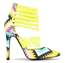 Love-Spell-133 Neon Yellow Pump Pointy toe Heel Tribal Strappy Dress Party Shoes
