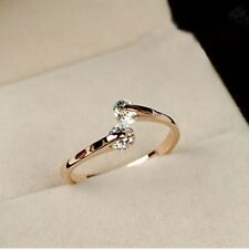 Hotsale Women 18K Rose gold GP Swarovski Crystal Engagement Ring Size 6 7 8 9