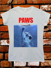 Paws Cat Kitten Meow Parody Hip Cool Funny Hipster Swag White Women Top T-Shirt