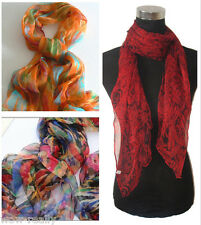 Hot Selling !Lady's Multicolor Oblong 100% Silk Scarf Belt Free Shipping