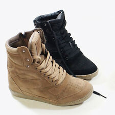Womens Suede High Top Hidden Wedge Trainers  Sky Top Sneakers