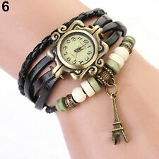 Vogue Retro Vintage Women's Eiffel Tower Quartz Leather Bracelet Wrist Watch