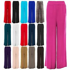 Womens Baggy Wide Legged Ladies Trousers Pants Flared Palazzo Leggings Plus Size