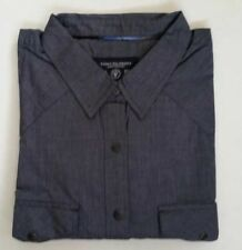 NEW AMERICAN EAGLE MENS XL BLUE CHAMBRAY WESTERN COWBOY SHIRT BLACK PEARL SNAPS