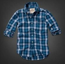 NWT HOLLISTER BY ABERCROMBIE MENS M PELICAN POINT BLUE PLAID L/S SHIRT