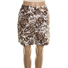 Jones New York Brown & White Floral Printed Cotton Casual Shorts - NEW