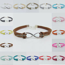 Handmade Charms DIY infinity beads Leather Cord adjustable Bracelet 26color B001