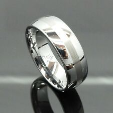 Men's Tungsten Carbide Ring Wedding Band Striped Titanium Color Size 6-14  8mm