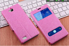 Silk PU Leather Flip Window View Wallet Stand Cover Case For Coolpad HUAWEI