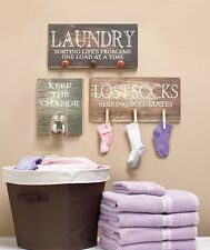 Laundry Room Signs Wooden Wall Art Lost Sock, Seeking Sole Mates or Keeps Change