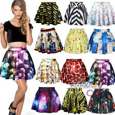 Ladies Summer Pleated Printed Skort Short Mini Skater Skirt Pleated Flared Dress