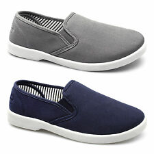 Dr Keller YACHT Mens Canvas Twin Gusset Wide Slip On Padded Comfy Deck Shoes New