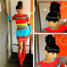 Hot sexy multi color mesh bodycon short dress celeb jersey party club cocktail