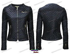 New Ladies PU Faux Leather Ripped Zip Up Womens Quilted Biker Bomber Jacket Coat