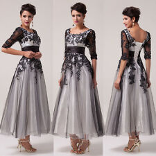 Half Sleeve Lace&Tulle Gown Evening Prom Party Bridesmaid Dress 6 8 10 12 14 16+