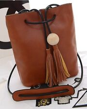 New women Bucket bag PU shoulder bag messenger bag tassels picture package Brown