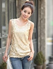 Fashion Summer Shinning Sequin Women Ladies Sleeveless Vests Top Vest Tank