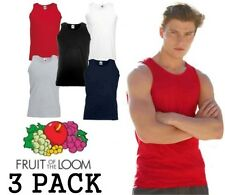 3 Pack Mens Fruit of the Loom Vests Cotton Tank Top Gym Sale T Shirt Top