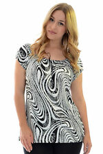 Womens Gypsy Top Ladies Boho Floral Print Monochrome Shirt Plus Size Nouvelle