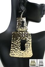 LONG/LARGE, DROP/DANGLE, GOLD TONE, TIERED, HAMMERED TEXTURED, SQUARE, EARRINGS