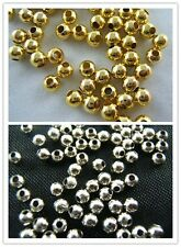 Wholesale Lot Silver /Gold Plated Smooth Beads Spacer Bead 2.5/3/4/5/6mm New