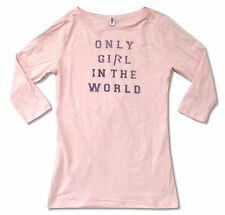 RIHANNA - ONLY GIRL GLITTER PINK 3/4 SLEEVE BABY DOLL T-SHIRT NEW OFFICIAL JRS