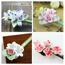 Chinese Ethnic Style Porcelain Ceramic china Flower Hair Stick Clip Pin Hairpin