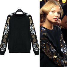 Women Spring Autumn Sweater Coat Wool Cotton T-shirt Sequin Paillette Outwear
