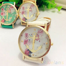 Women's Chic Trendy Faux Leather Floral Printed Anchor Quartz Dress Wrist Watch
