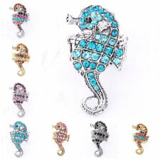 Delicate Animals Sea Horse Shape Glass Beads Crystal Rhinestone Stretchy Ring