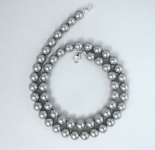 8mm Grey Pearl Necklace made w/ Swarovski Crystal elements 14 to 30 inch, Silver