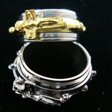 STAINLESS STEEL SPINNER RING W/ JESUS ON A CROSS/ 2 COLORS