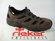 Rieker Men's Slippers Gelocht Leather, Soft Leather Inside Sole, Brown New