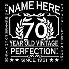 70th Birthday T-Shirt Ladies Cut Add Name Personalise Change Year Gift Idea Girl