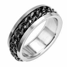 New Stainless Steel Men's Black Cuban Spinning Chain Band Ring-Sizes 9-15 (8011)